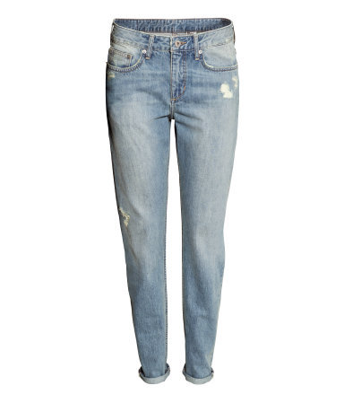 Boyfriend Slim Jeans - length: standard; pattern: plain; waist: low rise; pocket detail: traditional 5 pocket; style: slim leg; predominant colour: denim; occasions: casual, creative work; fibres: cotton - stretch; jeans detail: shading down centre of thigh, washed/faded; texture group: denim; pattern type: fabric; season: s/s 2014