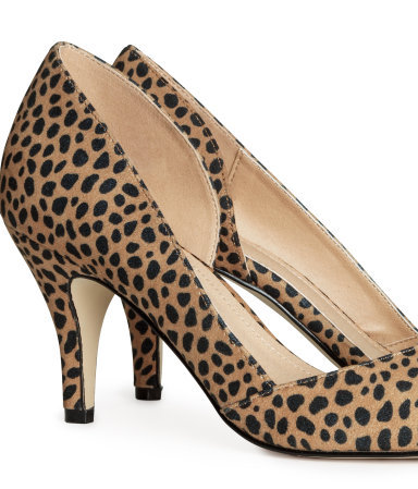 Court Shoes - predominant colour: camel; secondary colour: black; occasions: casual, evening, occasion, creative work; material: fabric; heel height: high; heel: stiletto; toe: pointed toe; style: courts; finish: plain; pattern: animal print; trends: world traveller; season: s/s 2014