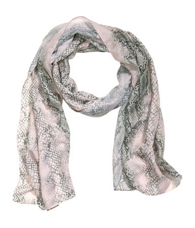 Patterned Scarf - secondary colour: mid grey; predominant colour: light grey; occasions: casual, evening, work, occasion, creative work; type of pattern: standard; style: regular; size: standard; material: fabric; pattern: patterned/print; season: s/s 2014