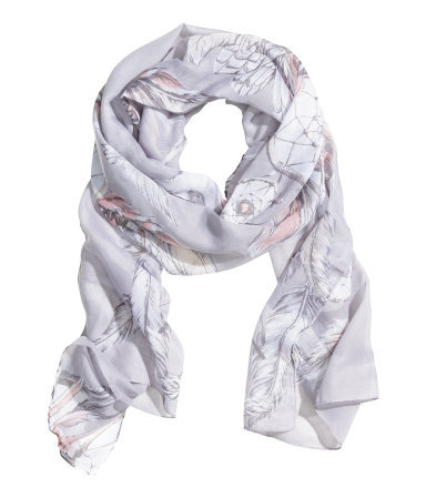 Patterned Scarf - secondary colour: ivory/cream; predominant colour: light grey; occasions: casual, evening, work, creative work; type of pattern: light; style: regular; size: standard; material: fabric; pattern: patterned/print; season: s/s 2014