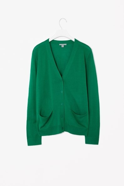 Wool And Silk Cardigan - neckline: low v-neck; pattern: plain; predominant colour: emerald green; occasions: casual, work, creative work; length: standard; style: standard; fibres: wool - mix; fit: standard fit; sleeve length: long sleeve; sleeve style: standard; texture group: knits/crochet; pattern type: fabric; season: s/s 2014