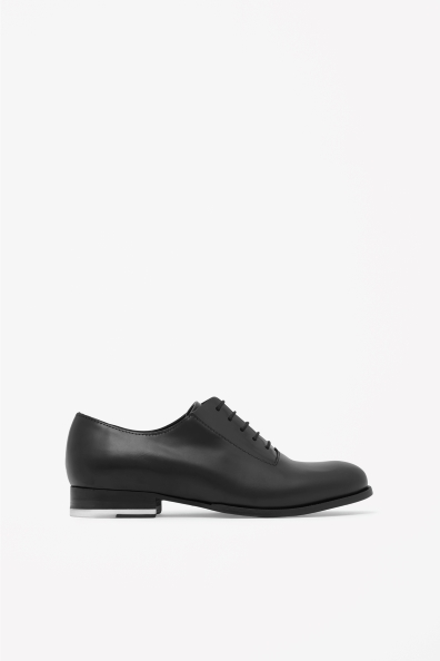 Contrast Detail Shoes - predominant colour: black; occasions: casual, work, creative work; material: leather; heel height: flat; toe: round toe; finish: plain; pattern: plain; style: lace ups; season: s/s 2014