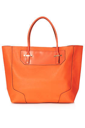 Saffiano Tote Bag - predominant colour: bright orange; occasions: casual, work, holiday, creative work; style: tote; length: handle; size: oversized; material: faux leather; pattern: plain; finish: plain; trends: hot brights; season: s/s 2014