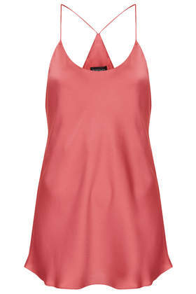 Racer Back Satin Cami - sleeve style: spaghetti straps; pattern: plain; length: below the bottom; style: camisole; predominant colour: coral; occasions: casual, evening, occasion, holiday, creative work; neckline: scoop; fibres: polyester/polyamide - 100%; fit: loose; sleeve length: sleeveless; texture group: structured shiny - satin/tafetta/silk etc.; pattern type: fabric; trends: sorbet shades; season: s/s 2014