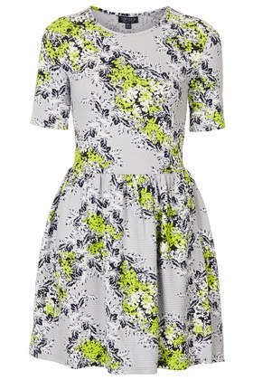Floral Textured Flippy Dress - length: mid thigh; secondary colour: yellow; predominant colour: light grey; occasions: casual, evening, creative work; fit: fitted at waist & bust; style: fit & flare; fibres: cotton - stretch; neckline: crew; sleeve length: short sleeve; sleeve style: standard; pattern type: fabric; pattern: florals; texture group: jersey - stretchy/drapey; season: s/s 2014
