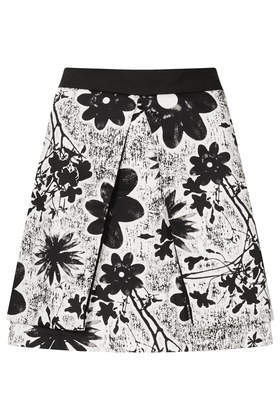 Flower Fold Aline Skirt - length: mid thigh; fit: loose/voluminous; waist: mid/regular rise; secondary colour: white; predominant colour: black; occasions: casual, evening, creative work; style: a-line; fibres: cotton - stretch; hip detail: adds bulk at the hips; pattern type: fabric; pattern: florals; texture group: other - light to midweight; trends: furious florals, monochrome; season: s/s 2014; pattern size: big & busy (bottom)