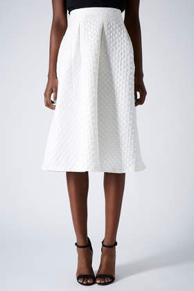 Diamond Jacquard Midi Skirt - length: below the knee; pattern: plain; style: full/prom skirt; fit: loose/voluminous; waist: mid/regular rise; predominant colour: white; occasions: evening, work, occasion, creative work; fibres: polyester/polyamide - stretch; hip detail: subtle/flattering hip detail; pattern type: fabric; texture group: brocade/jacquard; season: s/s 2014