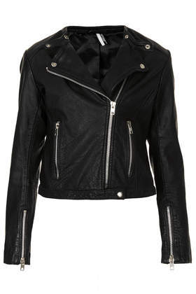 Collarless Leather Biker - pattern: plain; style: biker; collar: asymmetric biker; predominant colour: black; occasions: casual, evening, creative work; length: standard; fit: tailored/fitted; fibres: leather - 100%; sleeve length: long sleeve; sleeve style: standard; texture group: leather; collar break: medium; pattern type: fabric; season: s/s 2014
