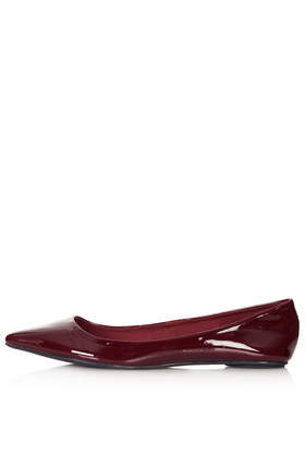 Voltaire Softy Pointed Slip On Shoes - predominant colour: burgundy; occasions: casual, work, creative work; material: faux leather; heel height: flat; toe: pointed toe; style: ballerinas / pumps; finish: patent; pattern: plain; season: s/s 2014