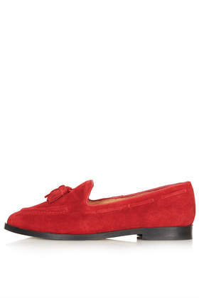 Kiki Suede Tassel Loafers - predominant colour: true red; occasions: casual, work, creative work; material: leather; heel height: flat; embellishment: tassels; toe: round toe; style: loafers; finish: plain; pattern: plain; season: s/s 2014
