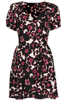 Floral Print Tea Dress - style: tea dress; length: mid thigh; neckline: low v-neck; predominant colour: white; secondary colour: pink; occasions: casual, evening, creative work; fit: fitted at waist & bust; fibres: viscose/rayon - 100%; sleeve length: short sleeve; sleeve style: standard; texture group: crepes; pattern type: fabric; pattern: florals; season: s/s 2014
