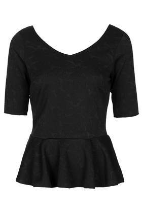 Jaquard Peplum Top - neckline: v-neck; pattern: plain; waist detail: peplum waist detail; predominant colour: black; occasions: evening, work, creative work; length: standard; style: top; fibres: polyester/polyamide - stretch; fit: body skimming; sleeve length: short sleeve; sleeve style: standard; pattern type: fabric; texture group: brocade/jacquard; season: s/s 2014