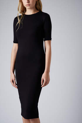 Rib Trim Midi Dress - length: below the knee; fit: tight; pattern: plain; style: bodycon; predominant colour: black; occasions: evening, work, occasion, creative work; fibres: viscose/rayon - stretch; neckline: crew; sleeve length: short sleeve; sleeve style: standard; texture group: jersey - clingy; pattern type: fabric; season: s/s 2014