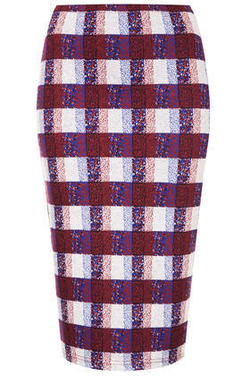 Texture Check Tube Skirt - pattern: checked/gingham; fit: tight; waist: mid/regular rise; predominant colour: burgundy; secondary colour: nude; occasions: casual, evening, creative work; length: on the knee; fibres: polyester/polyamide - stretch; style: tube; pattern type: fabric; texture group: woven light midweight; season: s/s 2014