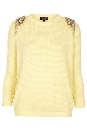 Knitted Pearl Embellished Jumper - pattern: plain; style: standard; predominant colour: primrose yellow; occasions: casual, work, creative work; length: standard; fibres: cotton - 100%; fit: standard fit; neckline: crew; sleeve length: 3/4 length; sleeve style: standard; texture group: knits/crochet; pattern type: knitted - fine stitch; embellishment: beading; season: s/s 2014; wardrobe: highlight; embellishment location: shoulder