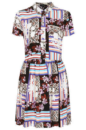 Floral Snake Shirt Dress - style: shirt; length: mid thigh; neckline: shirt collar/peter pan/zip with opening; predominant colour: white; secondary colour: pale blue; occasions: casual, evening, creative work; fit: fitted at waist & bust; fibres: viscose/rayon - 100%; sleeve length: short sleeve; sleeve style: standard; texture group: cotton feel fabrics; pattern type: fabric; pattern: patterned/print; trends: art-party prints; season: s/s 2014