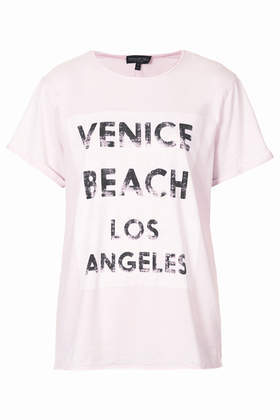 Tall Venice Beach Burnout Tee - neckline: round neck; style: t-shirt; predominant colour: blush; secondary colour: black; occasions: casual, creative work; length: standard; fibres: polyester/polyamide - mix; fit: loose; sleeve length: short sleeve; sleeve style: standard; pattern type: fabric; pattern: patterned/print; texture group: jersey - stretchy/drapey; trends: logos; season: s/s 2014