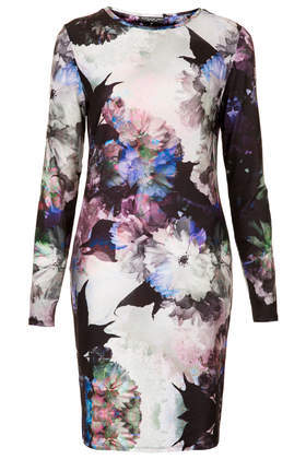 Tall Floral Print Bodycon Dress - fit: tight; style: bodycon; occasions: evening, occasion, creative work; length: just above the knee; fibres: polyester/polyamide - 100%; neckline: crew; predominant colour: multicoloured; sleeve length: long sleeve; sleeve style: standard; pattern type: fabric; pattern: florals; texture group: jersey - stretchy/drapey; trends: furious florals; season: s/s 2014; multicoloured: multicoloured