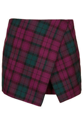 Petite Tartan Asymmetic Skort - length: mini; pattern: tartan; fit: body skimming; style: skorts; waist: mid/regular rise; predominant colour: purple; secondary colour: emerald green; occasions: casual, evening, creative work; fibres: cotton - 100%; pattern type: fabric; texture group: other - light to midweight; season: s/s 2014; pattern size: standard (bottom); wardrobe: highlight