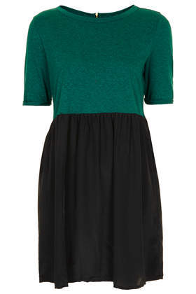 Petite Woven 2 In 1 Smock Dress - length: mid thigh; neckline: round neck; secondary colour: emerald green; predominant colour: black; occasions: casual, evening, creative work; fit: fitted at waist & bust; style: fit & flare; fibres: cotton - mix; sleeve length: short sleeve; sleeve style: standard; pattern type: fabric; pattern: colourblock; texture group: jersey - stretchy/drapey; season: s/s 2014