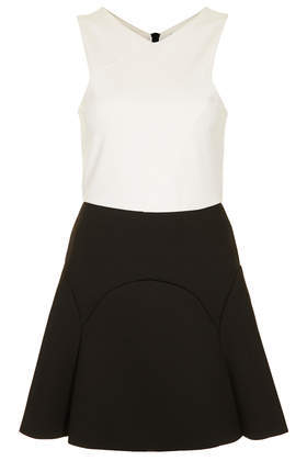 Petite Bonded Skater Dress - length: mid thigh; neckline: v-neck; sleeve style: sleeveless; secondary colour: white; predominant colour: black; occasions: evening, occasion; fit: fitted at waist & bust; style: fit & flare; fibres: polyester/polyamide - stretch; sleeve length: sleeveless; pattern type: fabric; pattern: colourblock; texture group: other - light to midweight; season: s/s 2014; trends: monochrome