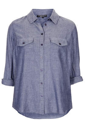 Petite Casual Chambray Shirt - neckline: shirt collar/peter pan/zip with opening; pattern: plain; style: shirt; predominant colour: denim; occasions: casual, holiday, creative work; length: standard; fibres: cotton - 100%; fit: loose; sleeve length: 3/4 length; sleeve style: standard; texture group: cotton feel fabrics; pattern type: fabric; season: s/s 2014