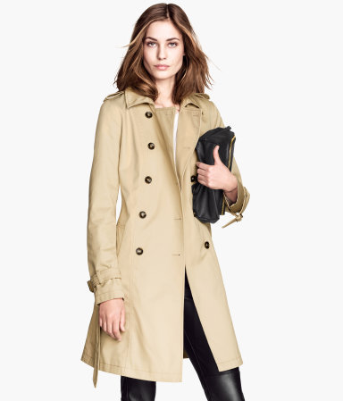 Trenchcoat - pattern: plain; style: trench coat; length: mid thigh; predominant colour: ivory/cream; occasions: casual, work, creative work; fit: tailored/fitted; fibres: polyester/polyamide - mix; collar: shirt collar/peter pan/zip with opening; waist detail: belted waist/tie at waist/drawstring; sleeve length: long sleeve; sleeve style: standard; texture group: cotton feel fabrics; collar break: high/illusion of break when open; pattern type: fabric; season: s/s 2014