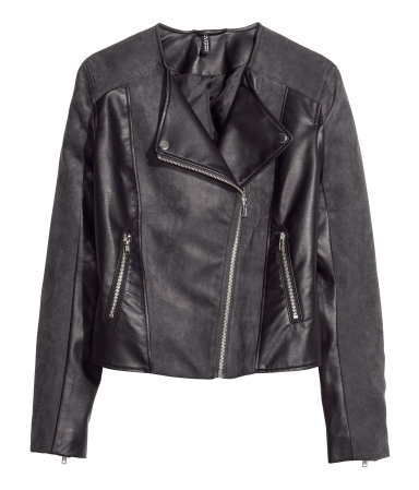 Biker Jacket - style: biker; collar: asymmetric biker; predominant colour: charcoal; occasions: casual, evening, creative work; length: standard; fit: tailored/fitted; fibres: polyester/polyamide - 100%; sleeve length: long sleeve; sleeve style: standard; texture group: leather; collar break: high/illusion of break when open; pattern type: fabric; pattern: colourblock; season: s/s 2014
