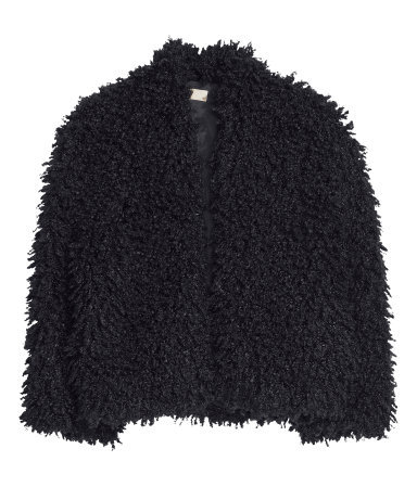 Fake Fur Jacket - pattern: plain; length: standard; collar: round collar/collarless; predominant colour: black; occasions: casual, evening, occasion, creative work; fit: straight cut (boxy); fibres: polyester/polyamide - 100%; style: fur coat; sleeve length: 3/4 length; sleeve style: standard; texture group: fur; collar break: low/open; pattern type: fabric; season: s/s 2014