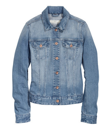 Denim Jacket - pattern: plain; style: denim; fit: slim fit; predominant colour: denim; occasions: casual, holiday, creative work; length: standard; fibres: cotton - stretch; collar: shirt collar/peter pan/zip with opening; sleeve length: long sleeve; sleeve style: standard; texture group: denim; collar break: high/illusion of break when open; pattern type: fabric; season: s/s 2014