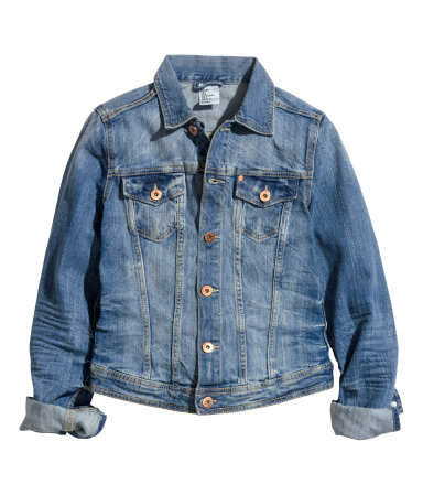 Denim Jacket - pattern: plain; style: denim; predominant colour: denim; occasions: casual, holiday, creative work; length: standard; fit: tailored/fitted; fibres: cotton - stretch; collar: shirt collar/peter pan/zip with opening; sleeve length: long sleeve; sleeve style: standard; texture group: denim; collar break: high/illusion of break when open; pattern type: fabric; season: s/s 2014
