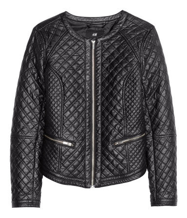 Biker Jacket - pattern: plain; style: biker; collar: round collar/collarless; fit: slim fit; secondary colour: silver; predominant colour: black; occasions: casual, evening, creative work; length: standard; sleeve length: long sleeve; sleeve style: standard; texture group: leather; collar break: high/illusion of break when open; pattern type: fabric; embellishment: quilted; fibres: pvc/polyurethene - 100%; season: s/s 2014