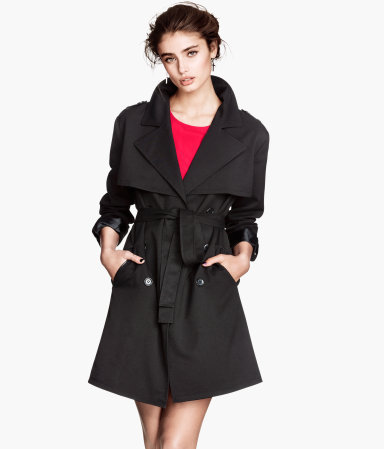 Trenchcoat - pattern: plain; style: trench coat; collar: standard lapel/rever collar; length: mid thigh; predominant colour: black; occasions: casual, work, creative work; fit: tailored/fitted; fibres: polyester/polyamide - stretch; waist detail: belted waist/tie at waist/drawstring; sleeve length: long sleeve; sleeve style: standard; texture group: technical outdoor fabrics; collar break: medium; pattern type: fabric; season: s/s 2014
