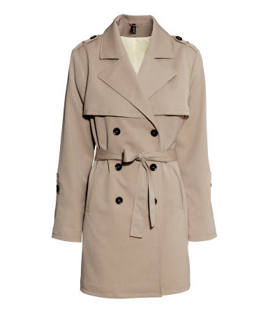 Trenchcoat - pattern: plain; shoulder detail: obvious epaulette; style: trench coat; collar: standard lapel/rever collar; length: mid thigh; predominant colour: camel; occasions: casual, work, creative work; fit: tailored/fitted; fibres: polyester/polyamide - stretch; waist detail: belted waist/tie at waist/drawstring; sleeve length: long sleeve; sleeve style: standard; texture group: technical outdoor fabrics; collar break: medium; pattern type: fabric; season: s/s 2014
