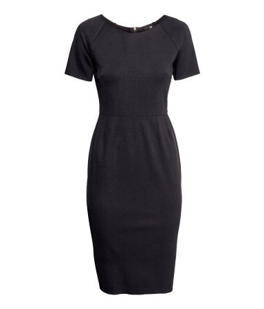 Jersey Dress - style: shift; neckline: round neck; fit: tailored/fitted; pattern: plain; predominant colour: black; occasions: casual, evening, work, occasion, creative work; length: on the knee; fibres: polyester/polyamide - stretch; sleeve length: short sleeve; sleeve style: standard; pattern type: fabric; texture group: jersey - stretchy/drapey; season: s/s 2014