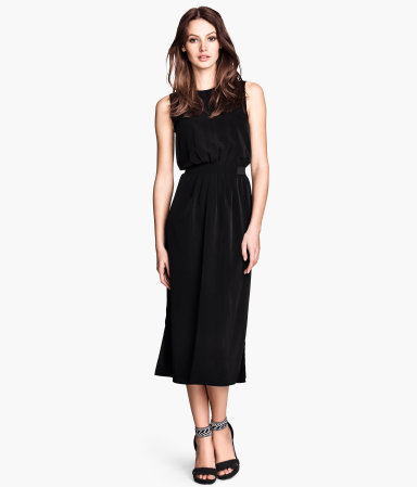 Sleeveless Dress - style: shift; length: calf length; neckline: round neck; fit: fitted at waist; pattern: plain; sleeve style: sleeveless; waist detail: elasticated waist; shoulder detail: contrast pattern/fabric at shoulder; predominant colour: black; occasions: evening, occasion; fibres: polyester/polyamide - 100%; sleeve length: sleeveless; pattern type: fabric; texture group: woven light midweight; season: s/s 2014