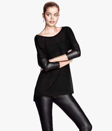 Fine Knit Jumper - neckline: slash/boat neckline; pattern: plain; length: below the bottom; style: standard; predominant colour: black; occasions: casual, work, creative work; fibres: polyester/polyamide - mix; fit: loose; back detail: longer hem at back than at front; sleeve length: 3/4 length; sleeve style: standard; texture group: knits/crochet; pattern type: knitted - fine stitch; season: s/s 2014