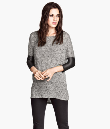 Fine Knit Jumper - neckline: round neck; sleeve style: dolman/batwing; pattern: plain; length: below the bottom; style: standard; predominant colour: mid grey; secondary colour: black; occasions: casual, creative work; fibres: polyester/polyamide - stretch; fit: loose; sleeve length: 3/4 length; texture group: knits/crochet; season: s/s 2014