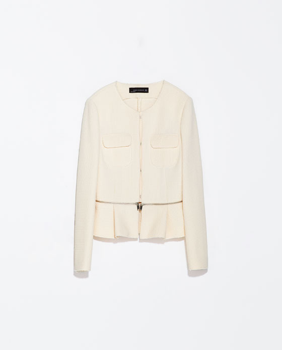 Jacket With Frill And Zip At The Waist - pattern: plain; style: single breasted blazer; collar: round collar/collarless; predominant colour: ivory/cream; occasions: casual, evening, work, occasion, creative work; length: standard; fit: tailored/fitted; fibres: polyester/polyamide - stretch; waist detail: peplum detail at waist; sleeve length: long sleeve; sleeve style: standard; collar break: high/illusion of break when open; pattern type: fabric; texture group: woven light midweight; season: s/s 2014