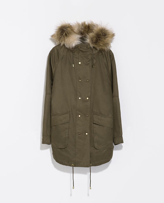 Parka With Detachable Lining - pattern: plain; fit: loose; style: parka; back detail: hood; collar: high neck; length: mid thigh; predominant colour: khaki; occasions: casual, creative work; fibres: polyester/polyamide - 100%; sleeve length: long sleeve; sleeve style: standard; texture group: cotton feel fabrics; collar break: high; pattern type: fabric; embellishment: fur; season: s/s 2014; wardrobe: highlight; embellishment location: neck
