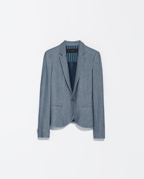 Soft Blazer - pattern: plain; style: single breasted blazer; collar: standard lapel/rever collar; predominant colour: denim; occasions: casual, evening, work, creative work; length: standard; fit: tailored/fitted; fibres: viscose/rayon - stretch; sleeve length: long sleeve; sleeve style: standard; collar break: low/open; pattern type: fabric; texture group: woven light midweight; season: s/s 2014