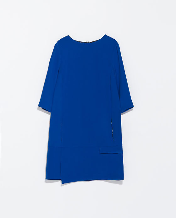Dress With Seam At The Hip - style: shift; length: mid thigh; neckline: round neck; pattern: plain; predominant colour: royal blue; occasions: evening, creative work; fit: soft a-line; fibres: polyester/polyamide - 100%; sleeve length: 3/4 length; sleeve style: standard; texture group: crepes; pattern type: fabric; season: s/s 2014