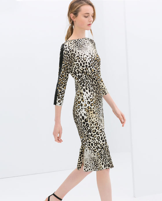 Combined Leopard Print Dress - style: shift; length: below the knee; neckline: slash/boat neckline; fit: tailored/fitted; secondary colour: taupe; predominant colour: stone; occasions: casual, evening, occasion, creative work; fibres: polyester/polyamide - stretch; sleeve length: 3/4 length; sleeve style: standard; pattern type: fabric; pattern: animal print; texture group: woven light midweight; season: s/s 2014