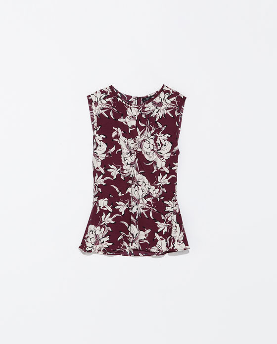 Printed Top With Gathered Front - neckline: round neck; sleeve style: sleeveless; style: vest top; secondary colour: white; predominant colour: burgundy; occasions: casual, work, holiday, creative work; length: standard; fibres: viscose/rayon - 100%; fit: tailored/fitted; sleeve length: sleeveless; pattern type: fabric; pattern: patterned/print; texture group: jersey - stretchy/drapey; trends: art-party prints; season: s/s 2014; pattern size: big & busy (top)
