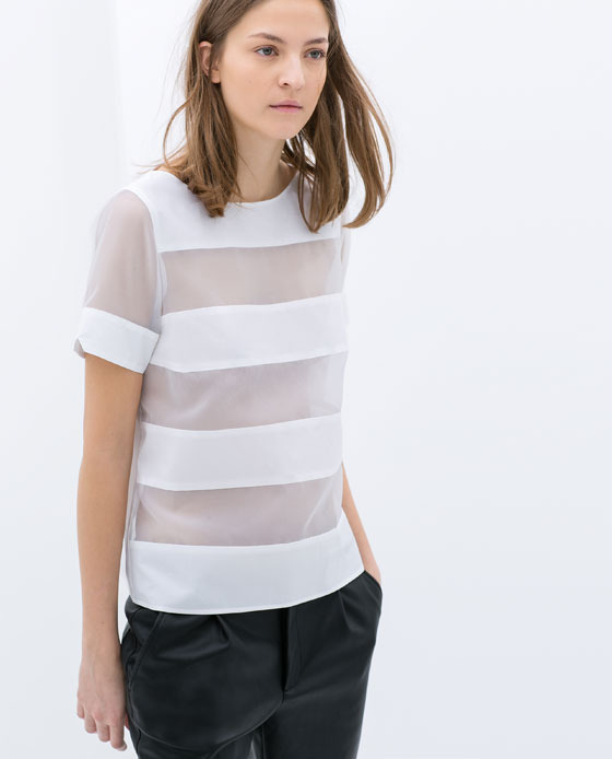 Striped Poplin Organza Top - pattern: horizontal stripes; style: t-shirt; predominant colour: white; occasions: casual, evening, holiday, creative work; length: standard; fibres: cotton - 100%; fit: straight cut; neckline: crew; sleeve length: short sleeve; sleeve style: standard; texture group: sheer fabrics/chiffon/organza etc.; pattern type: fabric; trends: sheer; season: s/s 2014
