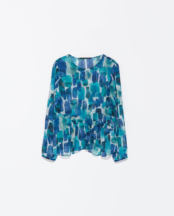 Printed Blouse With Frill - neckline: round neck; style: blouse; predominant colour: royal blue; secondary colour: turquoise; occasions: casual, evening, holiday, creative work; length: standard; fibres: polyester/polyamide - 100%; fit: loose; sleeve length: long sleeve; sleeve style: standard; texture group: sheer fabrics/chiffon/organza etc.; pattern type: fabric; pattern: patterned/print; trends: art-party prints; season: s/s 2014; pattern size: big & busy (top)