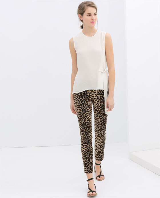 Leopard Print Trousers - waist: mid/regular rise; predominant colour: taupe; secondary colour: black; occasions: casual, evening, creative work; length: ankle length; fibres: cotton - stretch; fit: slim leg; pattern type: fabric; pattern: animal print; texture group: woven light midweight; style: standard; season: s/s 2014; pattern size: standard (bottom)