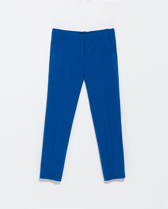 Ankle Cropped Trousers - pattern: plain; pocket detail: small back pockets, pockets at the sides; waist: mid/regular rise; predominant colour: diva blue; occasions: casual, evening, occasion, creative work; length: ankle length; fibres: polyester/polyamide - stretch; fit: slim leg; texture group: woven light midweight; style: standard; trends: hot brights; season: s/s 2014