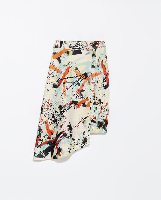 Printed Asymmetric Skirt - fit: body skimming; waist: mid/regular rise; secondary colour: black; occasions: casual, evening, work, holiday, creative work; length: just above the knee; style: asymmetric (hem); fibres: polyester/polyamide - stretch; predominant colour: multicoloured; pattern type: fabric; pattern: patterned/print; texture group: woven light midweight; trends: hot brights, art-party prints; season: s/s 2014; pattern size: big & busy (bottom); multicoloured: multicoloured