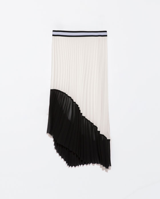 Asymmetric Two Tone Pleated Skirt - length: calf length; fit: loose/voluminous; style: pleated; waist detail: embellishment at waist/feature waistband; waist: mid/regular rise; predominant colour: white; secondary colour: black; occasions: evening, creative work; fibres: polyester/polyamide - 100%; texture group: sheer fabrics/chiffon/organza etc.; pattern type: fabric; pattern: colourblock; trends: powerful pleats, monochrome; season: s/s 2014; pattern size: big & busy (bottom)